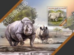 nig14212b Niger 2014 Rhinoceros s/s
