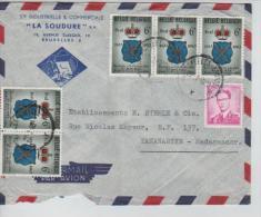 TP 1067 Baudouin Lunettes-1248(5) S/Lettre Avion C.Bruxelles En 1963 V.Tananarive Madagascar AP741 - Marcophilie