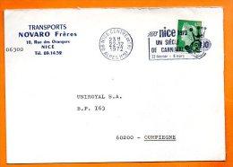 06 NICE  UN SIECLE DE CARNAVAL     22 / 12 / 1972 Lettre Entière N° V 270 - Sellados Mecánicos (Publicitario)