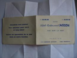 MARSEILLE HOTEL RESTAURANT PERON Corniche KENNEDY  Carte Dépliante - Publicités