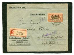 Deutsches Reich Memel Brief Einschreiben 1923 Nr. 31 IIX Abstand GC papier 1,45 mm