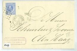 NEDERLAND * BRIEFOMSLAG * Uit 1882 * Van AMSTERDAM Naar DEN HAAG * NVPH NR. 19 + FIRMASTEMPEL   (8699) - 1852-1890 (Wilhelm III.)