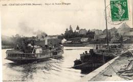 CHATEAU-GONTIER DEPART DU BATEAU D'ANGERS 1910 - Chateau Gontier