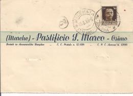 PATIFICIO S. MARCO,OSIMO,ANCONA, CARTOLINA COMMERCIALE VIAGGIATA  1940, PER MACERATA, - Ancona
