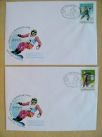 2 Fdc Cover From Ukraine 1998 Olympic Games Nagano Japan Sport Biathlon Figure Scating Snowboard - Ucrania