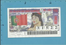 LOTARIA COM. 88.º ANIV. IMPLANT. REPÚBLICA - 40.ª ORD. - 05.10.1998 - BANDEIRA - Portugal - 2 Scans E Descript - Billets De Loterie