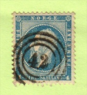 """NOR  SC #4  1856 King Oscar I """"42"""" In 3 Concentric Circles, W/lt. Toning, CV $20.00 - Used Stamps"""