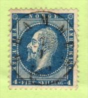 """NOR  SC #4  1856 King Oscar I  W/SON (""""DRAMEN/1-7-?""""), W/lt. Toned Perf @TL (above """"N""""), CV $20.00 - Norway"""