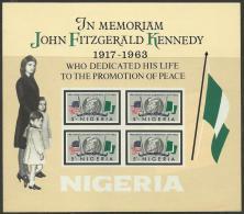 NIGERIA - 1963 J. F. Kennedy Souvenir Sheet. Scott 161a. MNH ** - Nigeria (1961-...)