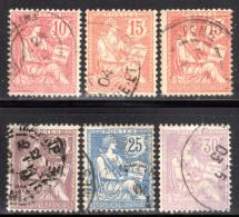 N° 124 à 128 (Mouchon Oblitérés): COTE= 41 Euros !!! - 1900-02 Mouchon