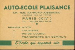 Pub. Reclame - Carte Visite - Auto école Plaisance Paris - Cartes De Visite
