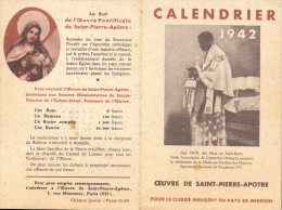 Kalender Calendrier - Oeuvre De St Pierre Apotre - 1942 - Calendriers