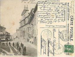 Ticino - Bellinzona - Piazza Della Collègiata - ANIMATA - VIAGG 1909  (E-L 035) - Cartes Postales
