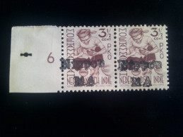 Nederlansch Indie **War Issue,Overprint Nippon MA Pair Type ZD 2,Margin With Punch Hole - Netherlands Indies