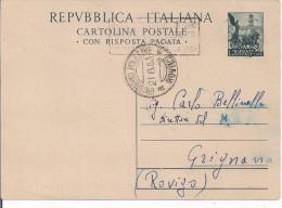 C.P. RISPOSTA PAGATA, QUADRIGA L.20, VIAGGIATA 1953, TIMBRO POSTE BARI TARGHETTA X GRIGNANO POLESINE ROVIGO - 6. 1946-.. Repubblica