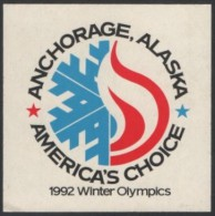 UNITED STATES 1986 - 91st I.O.C. SESSION - ANCHORAGE ´92 CANDIDATE FOR THE OLYMPIC WINTER GAMES - STICKER / AUTOCOLLANTE - Giochi Olimpici