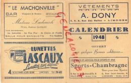 87 - LIMOGES - CALENDRIER 1948- OFFERT PAR COMMERCANTS- DONY- LASCAUX- BAR LE MALCHONVILLE- LADEUICH- GUITARD-DARTOUT- - Petit Format : 1941-60