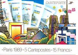 5 Cartes  Centenaire De La Tour Eiffel - France