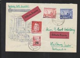 DDR FDC MiNr. 518-19 Leipziger Messe MiF Mit Eilbote Express 25.2.56 Nach Weilburg - [6] Repubblica Democratica