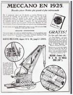 PUBLICITE 1925  Jeu De Mecano - Documents Historiques