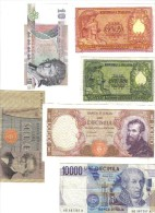 Italia 50 +100 + 1000 + 10000 + 10000 Lire + 10 Lire Pesanti 6 Biglietti Repubblica  N°670 - [ 2] 1946-… : Républic