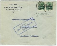 AUVELAIS  9.VII.1915 + Censure De Namur Vers Charleroi Cachet 10.VII.15 - WW I