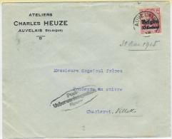 AUVELAIS 31.V.1915 + Censure De Namur Vers Charleroi Cachet 1.VI.15 - WW I