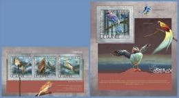 gu14201ab Guinea 2014 Birds 2 s/s