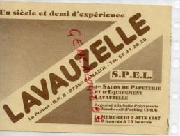 87 - PANAZOL- BUVARD LAVAUZELLE - 1ER SALON PAPETERIE IMPRIMERIE- BEAUBREUIL 1987- LIMOGES RUE BOUCHERIE - Buvards, Protège-cahiers Illustrés