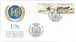 Nations Unies - Genève 1985 133 - 134 FDC - 40e Anniversaire ONU - Agriculture - Cheval - Horses