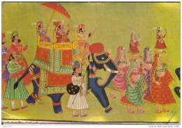 INDE ..-- RAJASTHAN ..-- Procession Painting . Vers ARLON ( Mme GUIOT ) . Voir Verso . - India