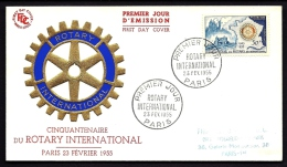 LETTRE FDC ROTARY INTERNATIONAL- PARIS- TIMBRE N° 1009- CAD DU 23-2-1955 ROUE DENTÉE OR ET BLEU GAUFRÉE- - Rotary Club