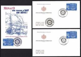 LOT 3 PIECES ROTARY INTERNATIONAL- MONACO- 2 FDC 3-4-1995 ET 14-6-1995 +  CARTE ILLUSTRÉE BATEAUX 14-6-1995- - Rotary, Lions Club