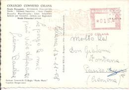 COLLEGIO CONVITTO CELANA, BERGAMO, AFFRANCATURA ROSSA MODIFICATA SU CARTOLINA VIAGGIATA 1958, CREMONA