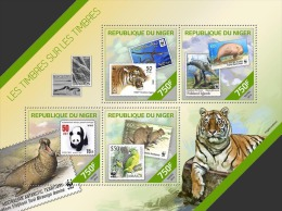 nig14208a Niger 2014 WWF Stamp on stamp SOS Tiger Snake Seal Panda Parrot s/s