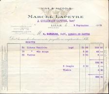 Facture - Vins Et Alcools Marcel Lapeyre - Lille 1929 - France