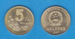 CHINA  5 JIAO  1.997  LATÓN  KM#329  EBC/XF   DL-10.982 - China
