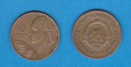YUGOSLAVIA  10 DINARES  1.955  Aluminio Bronce  KM#32  MBC/VF   DL-10.986 - Yugoslavia