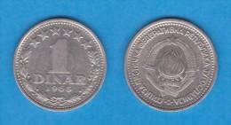 YUGOSLAVIA  1 DINAR  1.965  CU NI  KM#47  MBC/VF   DL-10.988 - Yugoslavia