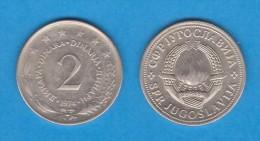 YUGOSLAVIA  2  DINARES  1.974  Cu Ni Zn  KM#57  MBC/VF   DL-10.990 - Yugoslavia