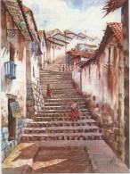 Lote PEP799, Peru, Postal, Postcard, Indigenous Issues, Watercolor, Acuarela, Cuzco, Salida A Huaynapata - Perú
