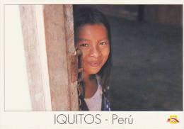 Lote PEP803, Peru, Postal, Postcard, Indigenous Issues, Iquitos, Niña En Padre Cocha, Children - Perú