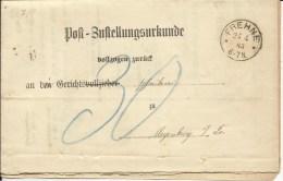 1883  Post-Zustellungsurkunde (Komplet) Mit Stempel Frehne (Marienfliess) Und Meyenburg In Der Prignitz - Cartas
