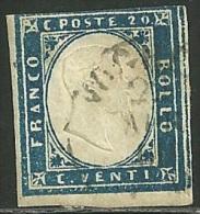1855-62 - SARDEGNA - 20 CENT. - 15E - VOGHERA - VARIETA´ -  SIGNED - SPL - Sardaigne