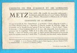 Pub. Metz Chemin De Fer Alsace Et Lorraine Sur Format Carte Postale De Metz - Railway