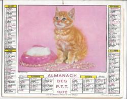 CALENDRIER - ALMANACH DES POSTES ET DES TELEGRAPHES Chat Et Oiseau - ANNEE 1972 - REGION PARISIENNE - Calendriers