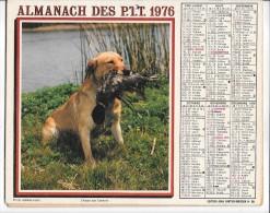 CALENDRIER - ALMANACH DES POSTES ET DES TELEGRAPHES - Chien Et Pêcheur -  ANNEE 1976  - PARIS Et Ses Environs - Calendriers