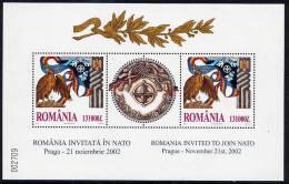 ROMANIA 2002 NATO Summit Conference Block MNH / **.  Michel Block 325 - Blocks & Sheetlets