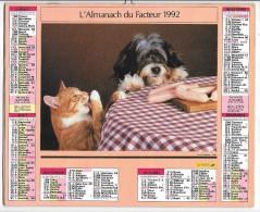 CALENDRIER - ALMANACH DES POSTES ET DES TELEGRAPHES - Chat Et Chien -  ANNEE 1992  - HERAULT - Big : 1991-00