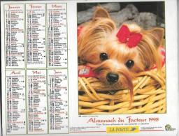 CALENDRIER - ALMANACH DES POSTES ET DES TELEGRAPHES -  Chiens - ANNEE 1998  - SEINE ET MARNE - Big : 1991-00
